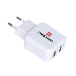 SWISSTEN SÍŤOVÝ ADAPTÉR 2x USB 2,4A – BÍLÝ