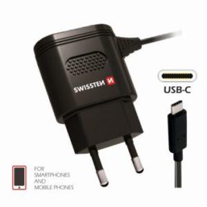 SWISSTEN SÍŤOVÁ NABÍJEČKA USB-C 2,4A – ČERNÁ