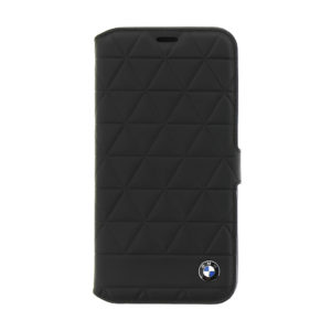 BMW Hexagon Leather Book Case Black pro iPhone X
