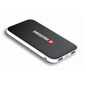 SWISSTEN BLACK CORE SLIM POWER BANK 10000 mAh USB-C INPUT