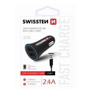 SWISSTEN CL Autonabíječka 2,4A POWER 2x USB + KABEL USB-C