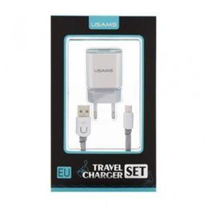 USAMS Dual 2.4A USB Cestovní Dobíječ + U-Trans Type C Kabel White/Grey