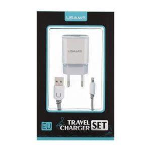 USAMS Dual 2.4A USB Cestovní Dobíječ + U-Turn Lightning Kabel White/Grey