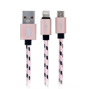 XO Design USB Kabel – NB10 2w1 micro USB/ IPHONE lightning 2.4A 1,2M růžovo-zlatý