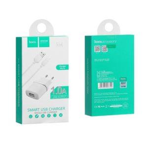 HOCO Cestovní dobíječ – 1A USB + kabel micro C11 bílý