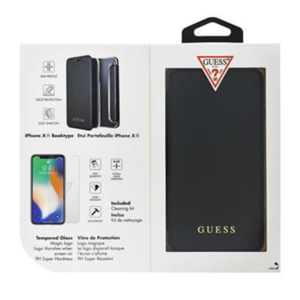 Guess Bundle Leather Book Case Iridescent Black + Tempered Glass pro iPhone XR