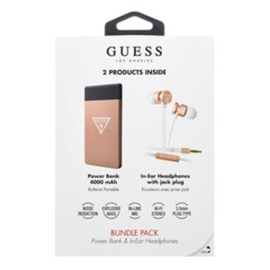 Guess Bundle In-Ear Headphones + PowerBank 4000mAh Rose Gold