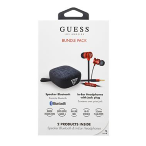 Guess Bundle In-Ear headphones + Bluetooth Speaker Red – sluchátka a reproduktor