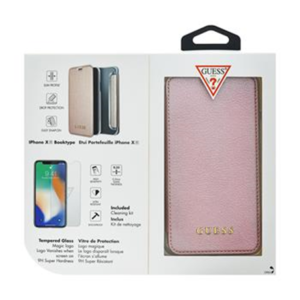 Guess Bundle Leather Book Case Iridescent Rose Gold + Tempered Glass pro iPhone XR