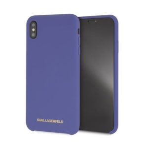 KLHCPXSLVOG Karl Lagerfeld Gold Logo Silicone Case Violet pro iPhone X