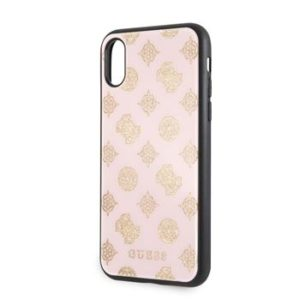 GUHCPXTGGPLP Guess Layer Glitter Peony zadní kryt iPhone X/XS Light Pink
