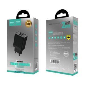 HOCO C51A Cestovní dobíječ 3.4A 2x USB black