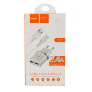 HOCO C12 Nabíječka do sítě  typ C USB Dual 2.4A white