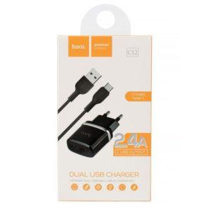 HOCO C12 Nabíječka do sítě  typ C USB Dual 2.4A black