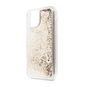 GUHCN58GLHFLGO Guess Glitter Hearts Zadní Kryt pro iPhone 11 Pro Max Gold