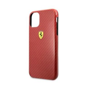 FESPCHCN61CBRE Ferrari Printed Carbon Kryt pro iPhone 11 Red