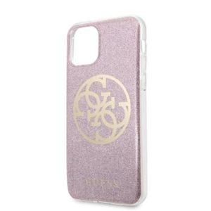 GUHCN61PCUGLPI Guess 4G Glitter Circle Zadní Kryt pro iPhone 11 Pink