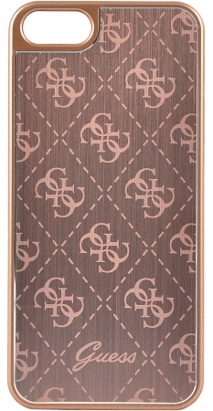 GUHCPSEMEPI Guess 4G Aluminium Kryt Rose Gold pro iPhone 5/5S/SE