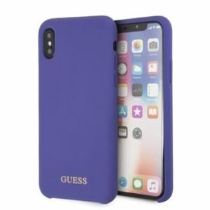 GUHCI61LSGLUV Guess Silicone zadní kryt Gold Logo iPhone XR Purple