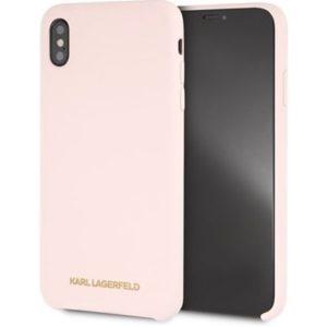 KLHCI61SLVOG Karl Lagerfeld Gold Logo Silicone zadní kryt iPhone XR Pink