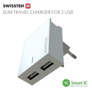 SWISSTEN Síťový adaptér smart IC, CE 2x USB 3 A power bílý