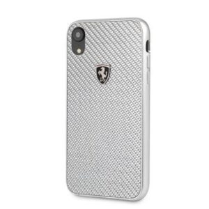 FEHCAHCI61SI Ferrari Heritage Real Carbon iPhone XR Hard Case Silver