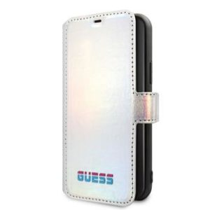 Guess GUFLBKN61BLD Iridescent Book Case for iPhone 11 Silver