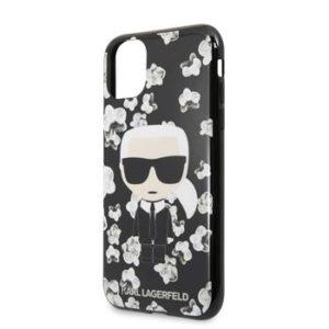 KLHCN61FLFBBK Karl Lagerfeld TPU Flower Kryt pro iPhone 11 Black