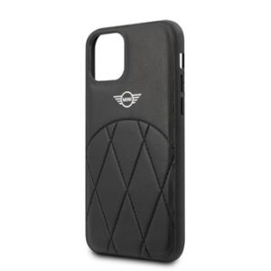 MIHCN58LECRBK Mini Cooper iPhone 11 Pro Stitched Crossing Lines Cover Black
