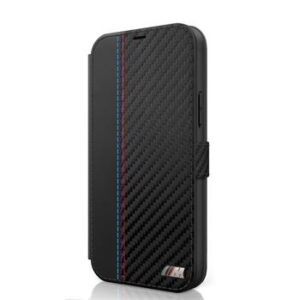 BMW MFLBKP12LMCARBK PU Carbon Contrast  Pouzdro iPhone 12 Pro Max 6.7 Black