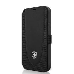 Ferrari FEOGOFLBKP12MBK Off Track Perforated Kožené Pouzdro iPhone 12/12 Pro 6.1 Black