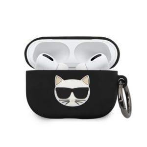 KLACAPSILCHBK Karl Lagerfeld Choupette Head Silikonové Pouzdro pro Airpods Pro Black