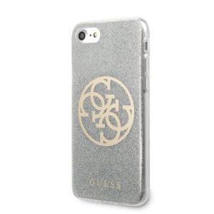 Guess GUHCI8PCUGLLG Glitter 4G Circle Kryt pro iPhone 8/SE2020 Light Grey