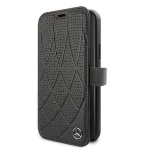 MEFLBKN58DIQBK Mercedes Quilted Perf Book Case for iPhone 11 Pro Black